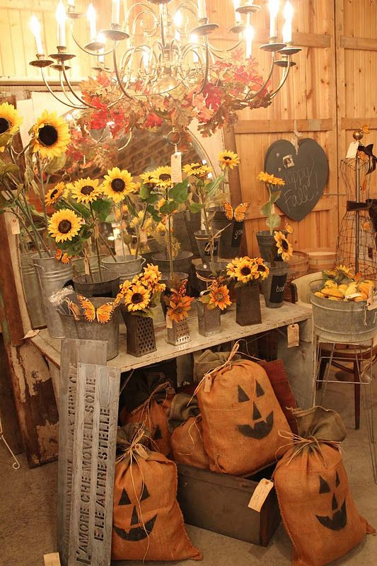 Sunflowers, pumpkins, and antiques