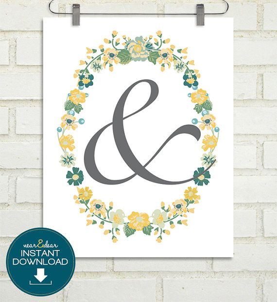 """INSTANT DOWNLOAD - Last Minute Wedding Gift - Printable Bridal Shower Gift or Anniversary Gift - 8""""x10"""" Ampersand Art Print"""