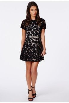 Klementyna Black Daisy Mesh Skater Dress - cutesy!