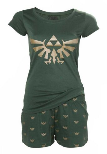 Material: 100% Cotton. Well, Link can't awaken unless he's asleep first. A long day of adventuring deserves a long, comfy sleep Comes in Link-y green because…well, because of course it does Shorts, baggy neck and cap sleeves for summer nights that get hotter than the Fire Realm Pair with an elf nightcap to complete the look! …