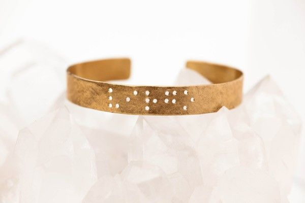 Best Of Etsy: 50 Cool Finds Made In NYC  #refinery29  http://www.refinery29.com/fashion-archive-224#slide-47  Leigh Luna Zodiac Braille Engraved Cuff, $80, available at Etsy.
