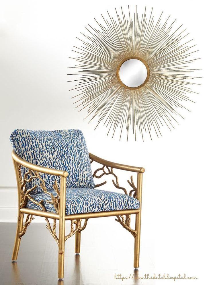 Gold Metal Wall Mirror, Starburst Mirror, Sunburst Mirror, Midcentury Mirror  | eBay
