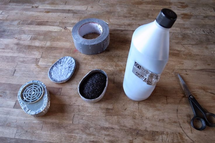 Mask Charcoal Filter by Caspar Forsberg -- Homemade mask charcoal filter constructed from activated carbon, duct tape, and surplus filters. http://www.homemadetools.net/homemade-mask-charcoal-filter