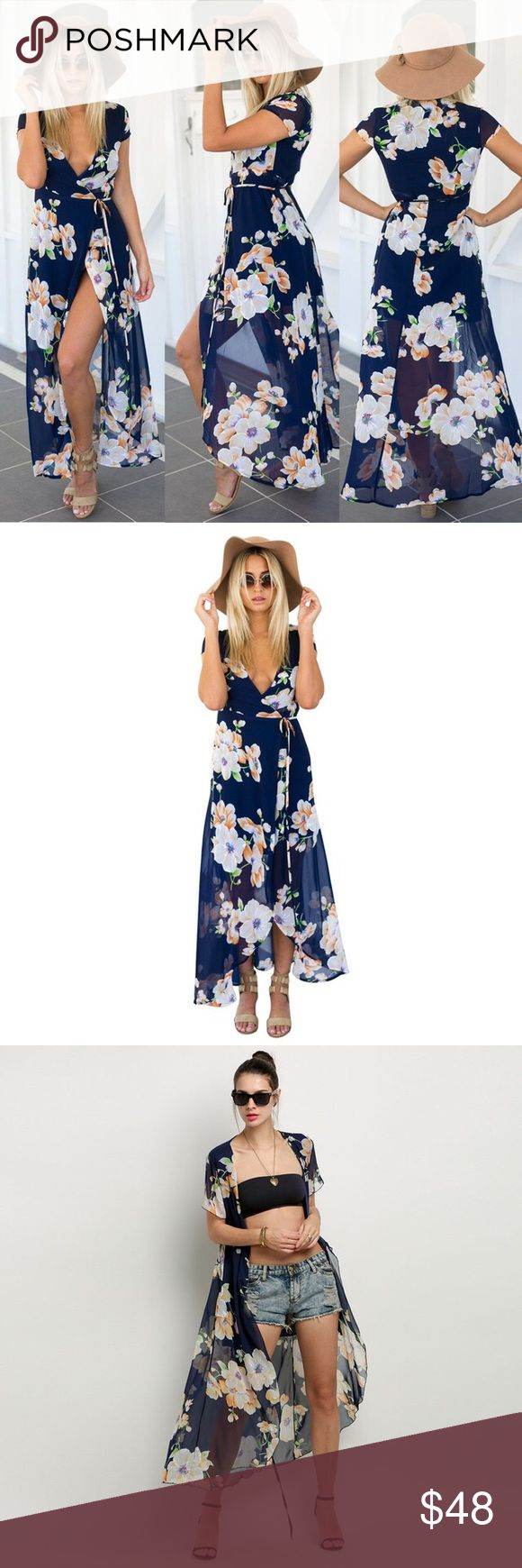 """New❗️""""Catalina"""" Floral Chiffon Maxi Wrap Dress🌸 The """"Catalina"""" Maxi Dress is a floral wrap maxi dress in navy. It can be worn open or closed. Tie strings allow for a little flexibility in fit. The dress has navy lining until mid thigh, at which point the rest of the dress is sheer chiffon for a sexy and classic look. Dress is true to size. Pair with a sun hat, strappy sandals, or a boho choker. 🌸 49 inches in length. Dresses Maxi"""