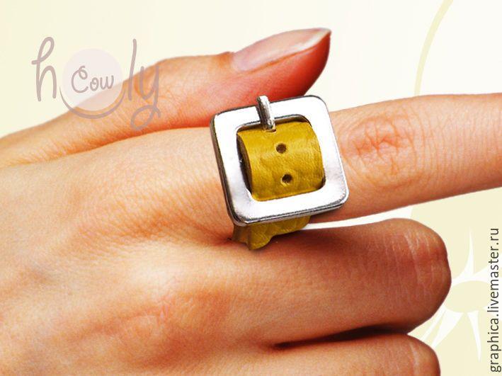 """Купить Оригинальное кожаное кольцо """"Positive"""" - кольцо, кольцо ручной работы, кожаное кольцо"""
