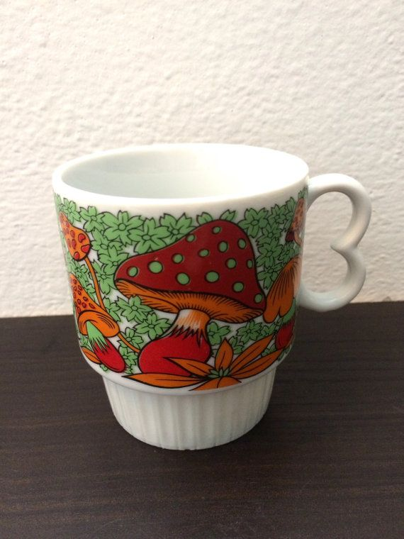 Groovy Mushroom Coffee Mug | Retro Heart-Handle Made in Japan Mug | Vintage Mod Stackable Mug
