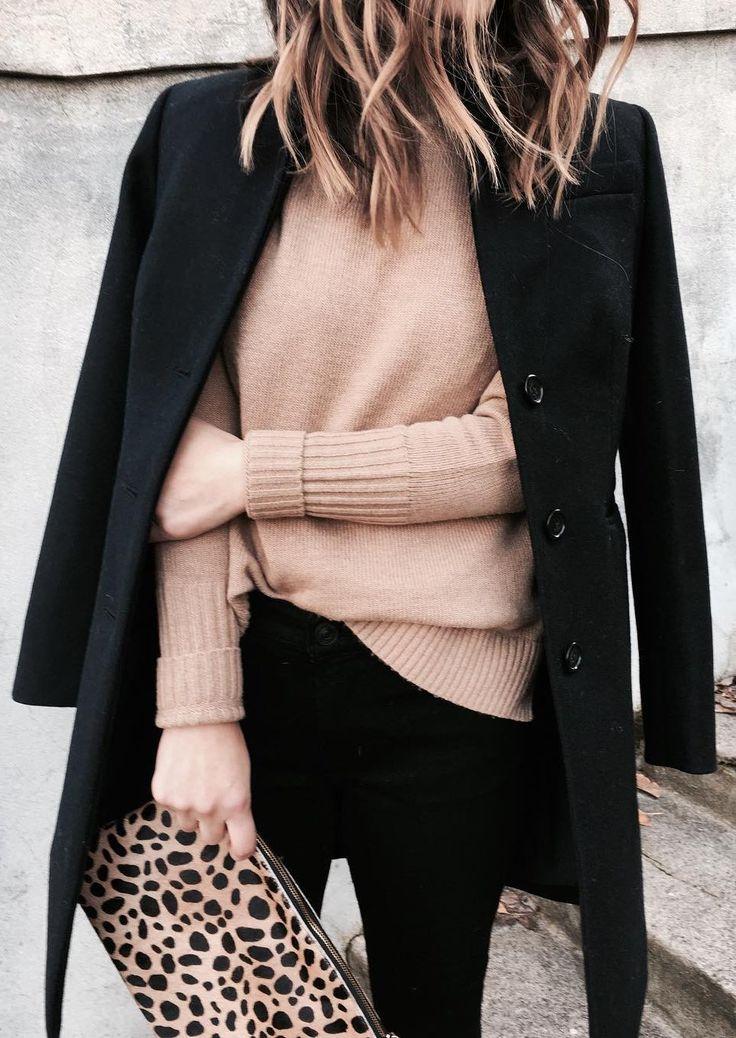 #winter #fashion /  Black Coat / Beige Knit / Leopard Clutch / Black Skinny Jeans
