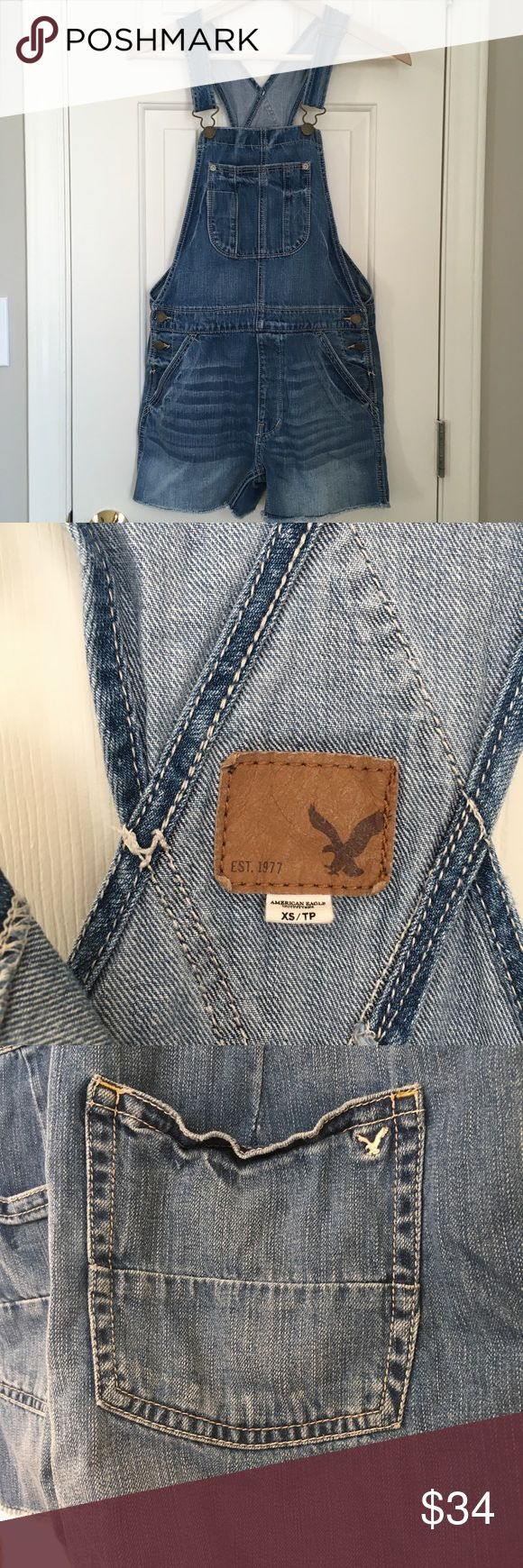 American Eagle Outfitters Denim Overall Shorts American Eagle Outfitters Short Overalls. Factory Distressed denim In excellent preloved condition! Size XS  *Bundle with other items to save more! American Eagle Outfitters Jeans Overalls