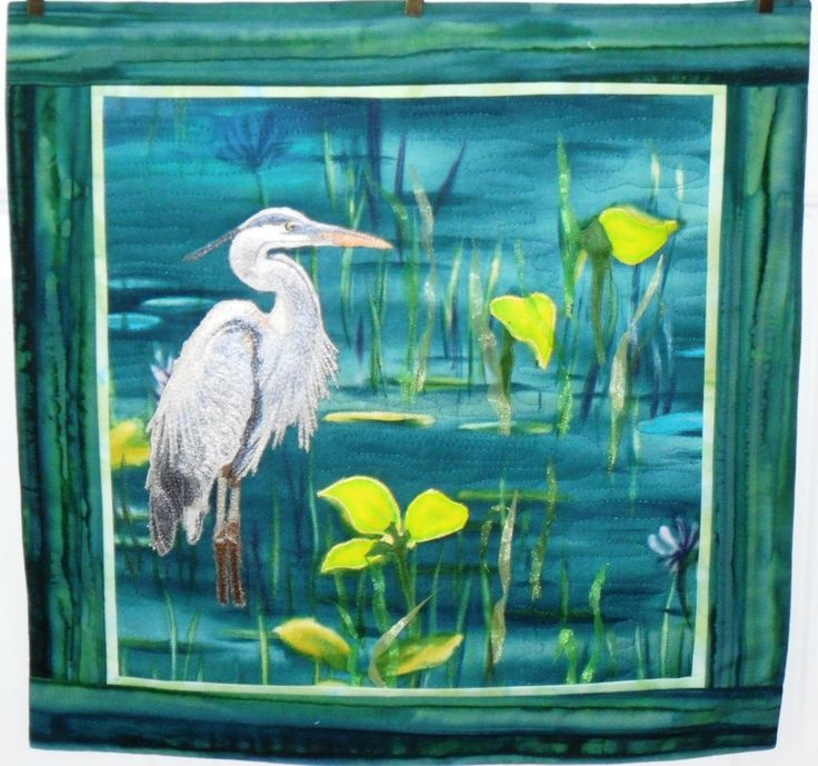 The Sentinel - Quilted Picture with 3 D leaves, reeds and Thread Painted Heron.