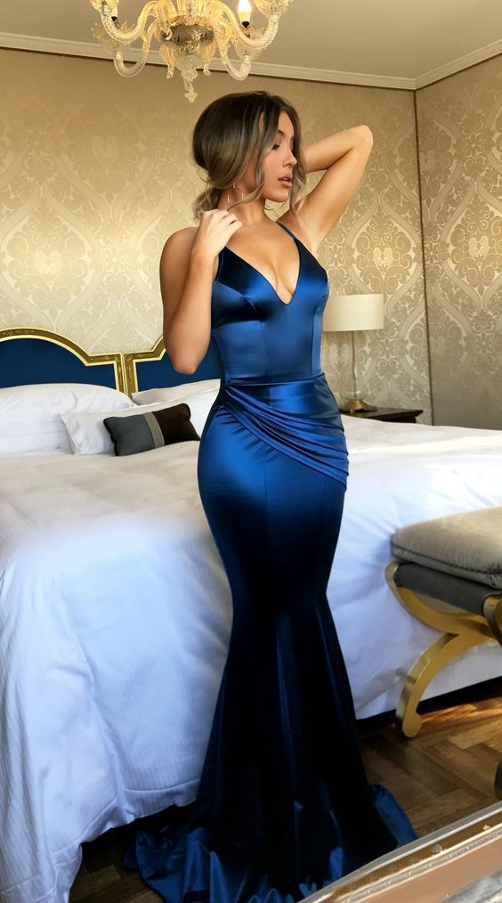 elegant royal blue spaghetti straps prom dress, mermaid bodycon party dress with ruched