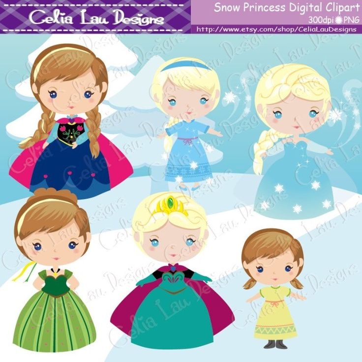 Snow Princess Clipart frozen clipart for by CeliaLauDesigns, $5.00