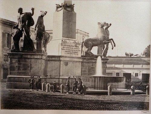 Piazza del Quirinale, statue of Castor and Pollux, Rome 1860-1865 Albumen print