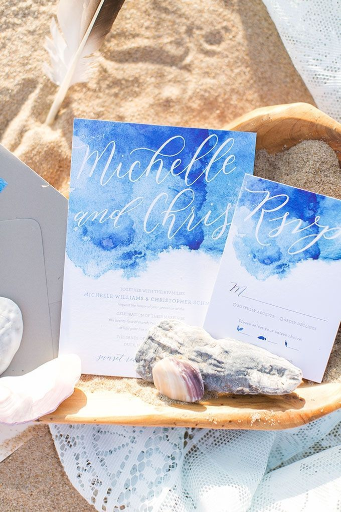 Ocean themed watercolor invitations drenched in romance! Invitations: Featured Invitation: Jess Creates; Photo: Amanda Hedgepeth