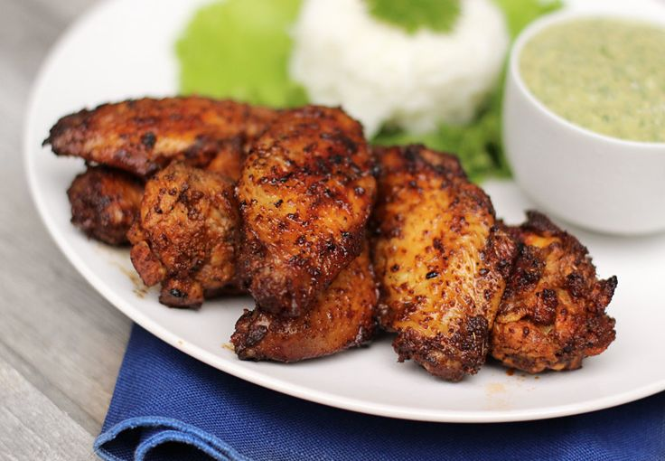Smoked Chicken Wings with Creamy Cilantro Dip