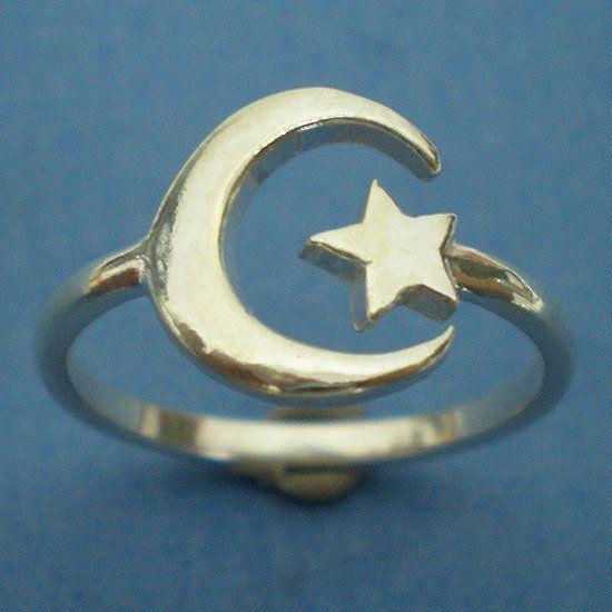 krysal's save of Cresent moon and Star Ring in Sterling Silver - US 3 - 13 on Wanelo