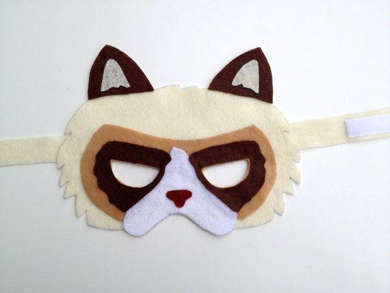 Unhappy grumpy cat felt mask animal dress up by ImagineByDay, $9.00