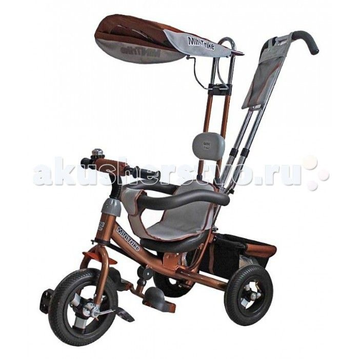 """Велосипед трехколесный Mars Mini Trike с отдельной управляемой ручкой  Велосипед трехколесный Mini Trike LT-950 надувные колеса на спицах 10""""8""""  Хит продаж!Трехколесный велосипед Mini Trike с управляемой родительской ручкой и удобной корзинкой для  игрушек. Регулируемый тент защищает малыша от солнца и дождя. Данная модель  ничем не отличается от своего предшественника - Lexx Trike.  Характеристики Mini Trike:  Стальная облегченная рама  Двойная хромированная родительская ручка управления…"""