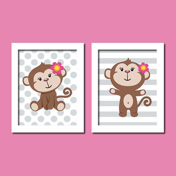 Cute Baby Girl Monkey Grey Gray Polka Dot Stripe Set of 2 Prints Nursery Crib Bedding Bathroom Toddler Wall Art Decor Picture Pottery Barn