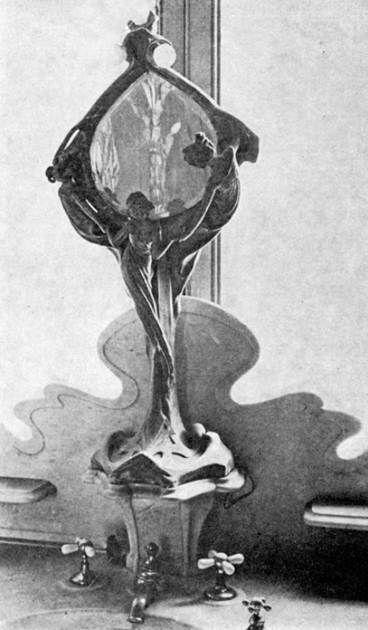 El exquisito lavabo estilo Art Nouveau de la Casa Requena. En la actualidad, lo que aún queda de esta antigua propiedad es prácticamente un cascarón en estado ruinoso