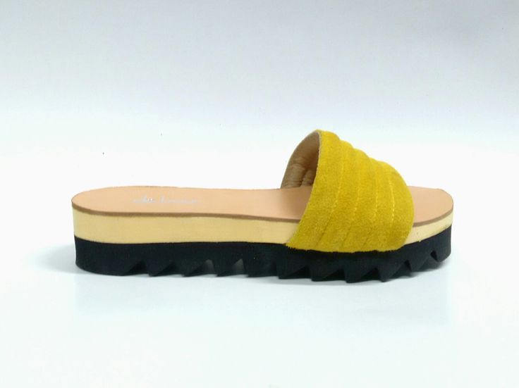 Pillow pool slides_Mustard yellow Handcrafted suede sandals