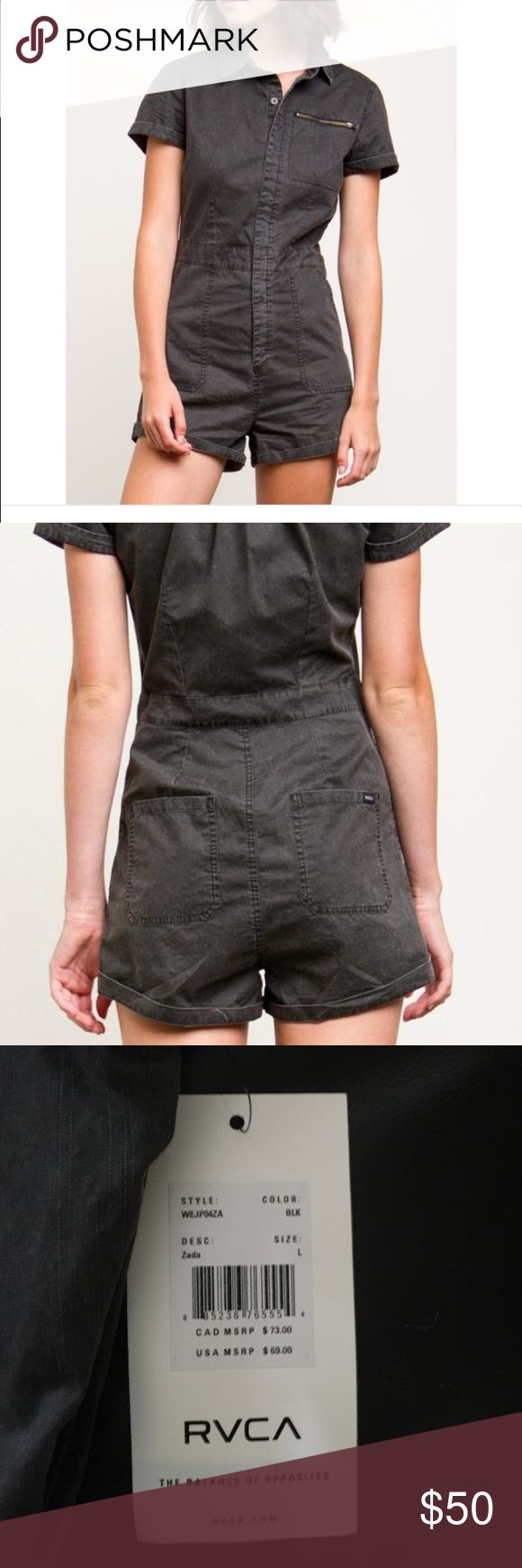 RVCA romper The RVCA Zada is a coated cotton, utility style jumper with a hidden button placket, a zip patch chest pocket, slash pockets at the front, back patch pockets, and rolled sleeve cuffs. The jumper has a RVCA solo label at the wearer's back right patch pocket. RVCA Other