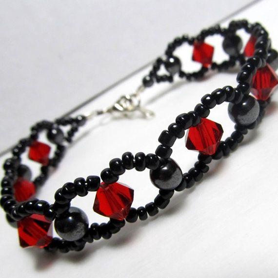 Gothic Red Crystal & Hematite Woven Bracelet by ElementalKarma, $16.00