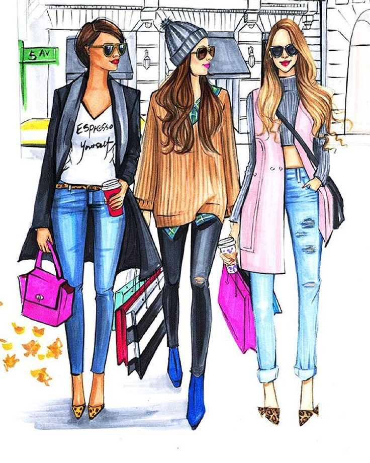 """""""Hello Fry day! There is always time to grab coffee and go holiday shopping with besties! Tag your friends below #fashionillustrator…"""""""