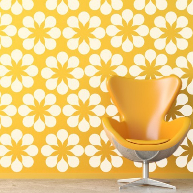 {Daisy Wall Decal} Wall Star Graphics - in yellow, lime, turquoise, pink, gray, black or white!