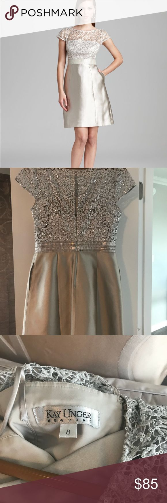 Kay Unger Cocktail Dress Kay Unger Women's Metallic Cocktail Dress Short Sleeve with Sequin Lace Overlay. Great for special occasions or holiday parties. Kay Unger Dresses