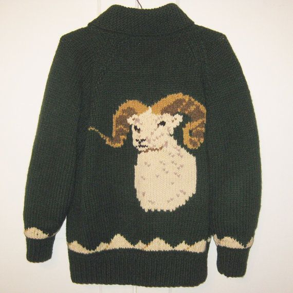 Vintage Cowichan Ram Sweater Size Large  100% Wool by Exacta