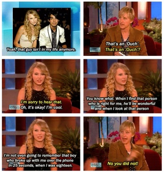 """Normally I would be like """"GO TAYLOR SWIFT"""" but considering she had been with like almost every young celebrity guy, I'm going to say """"GO JOE!!!"""" Haha"""
