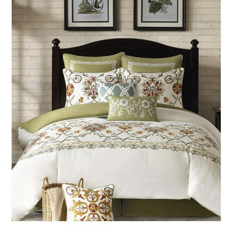 Arabesque Floral Ivory Comforter Set   Elegant Traditional Master Bedroom  Ideas