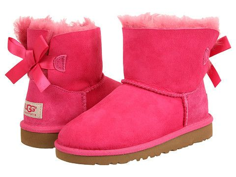 """Ugg: Kids Mini Bailey Bow Little Kid/Big Kid (Cerise) Enter Code: """"15SHOP"""" at Checkout at http://www.littlefeetshoes.com for 15% off Prices."""
