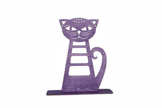 Large Cat Earring Holder Wooden Cat Jewelry Stand  by CinkyLinky