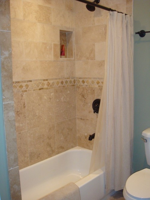 Tile All The Way To The Top Still With A Shower Curtain And Short Tub Idea For Kid 39 S Bath