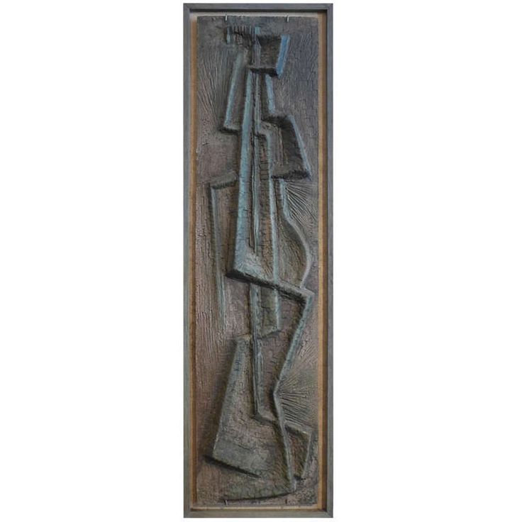 Abstract Bas-Relief by Lee Rosen United States c. 1950 Figural abstract bas-relief in cement by Lee Rosen, executed c. 1950. A studio work b...