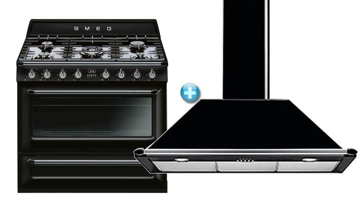 Smeg 90cm Freestanding Cooker with Wallmount Rangehood Package | Domayne