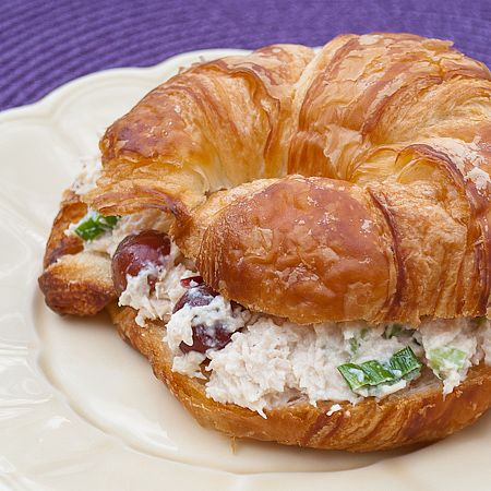 one pinner wrote: 100 Famous resturant recipes to make at home. I made the chicken salad on croissants as shown in the picture. Sooo good! I just finished eating mine and have to get some more. I love the crunchy sweetness of the apples and grapes paired with nuts and tang of green onion. I used 1 pint of my home-canned chicken breasts too -- 5-10 minute prep and you're ready to eat! :)
