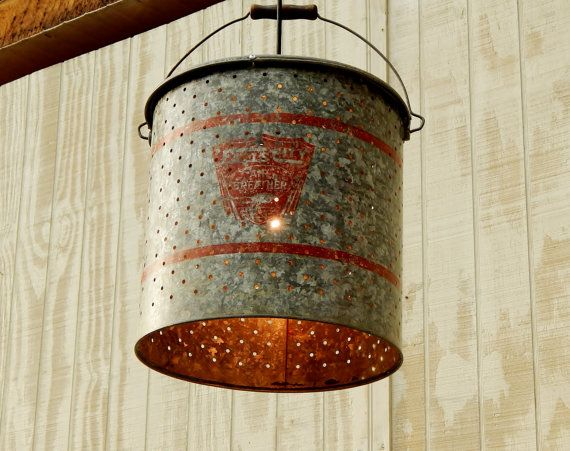Galvanized Minnow Bucket Hanging Light. Repurposed, DIY