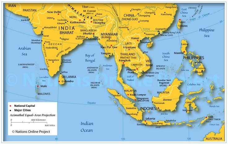 Good map of SE Asia with links to information about each country- country profiles including geography, gov't, climate, people, resources, etc. Very informative