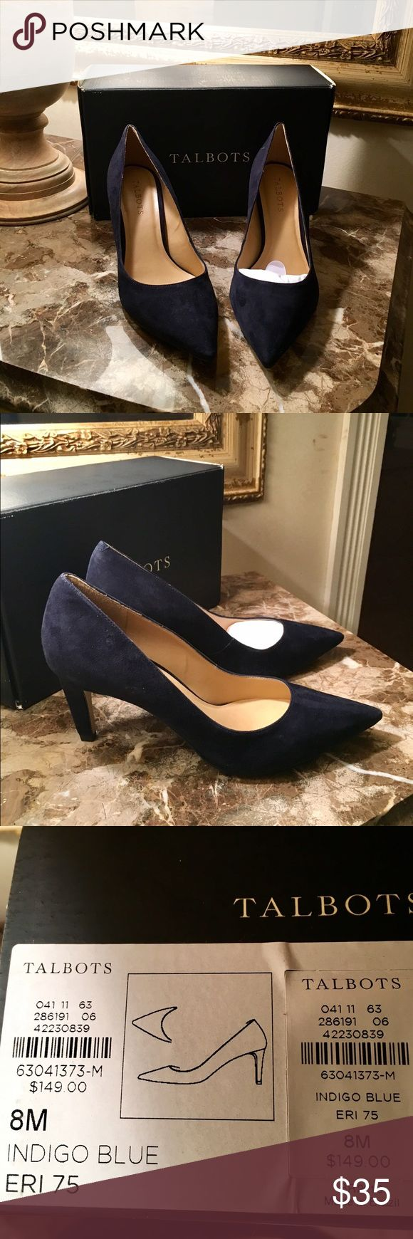 TALBOTS NEW BLUE SUEDE PUMPS! Brand new with box size 8 indigo blue (navy) suede pumps. Great for spring. TALBOTS. RETAILED at $149. Sold out. Great deal! Approximately 3 inch heel. Talbots Shoes Heels