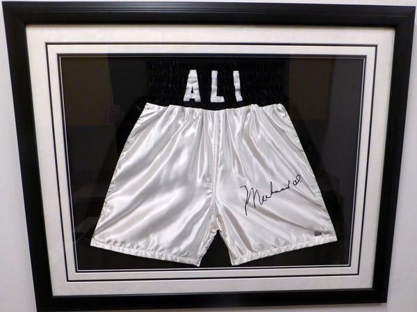 Muhammad Ali Framed Autographed White Boxing Trunks Beckett BAS #A89079