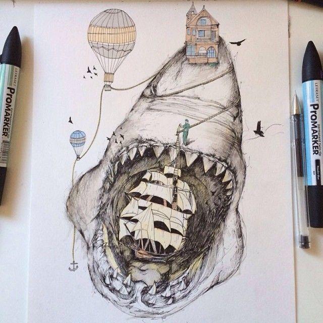 """Ink Illustration: """"Shark"""" Illustration Ink ©Alfred Basha"""