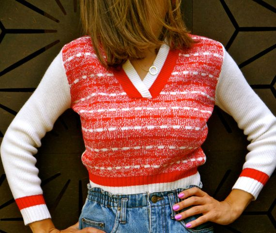Cropped V Neck Knitted Jumper by JozzaJean on Etsy