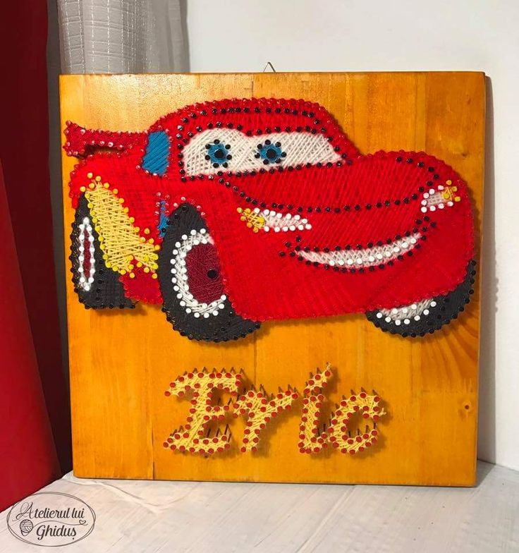 Cars Thunder Mqueen string art / decoration for baby boy nursery / Eric string art  (fb: www.facebook.com/atelierulluighidus)
