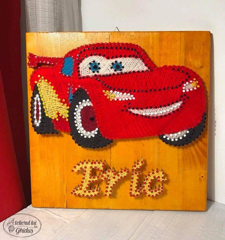 Cars Thunder Mqueen string art / decoration for baby boy nursery / Eric string art  (fb: www.facebook.com/atelierulluighidus)