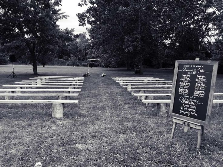 Our wedding setup #heartwoodhirebenches #blackboard #arch #heartwoodhire