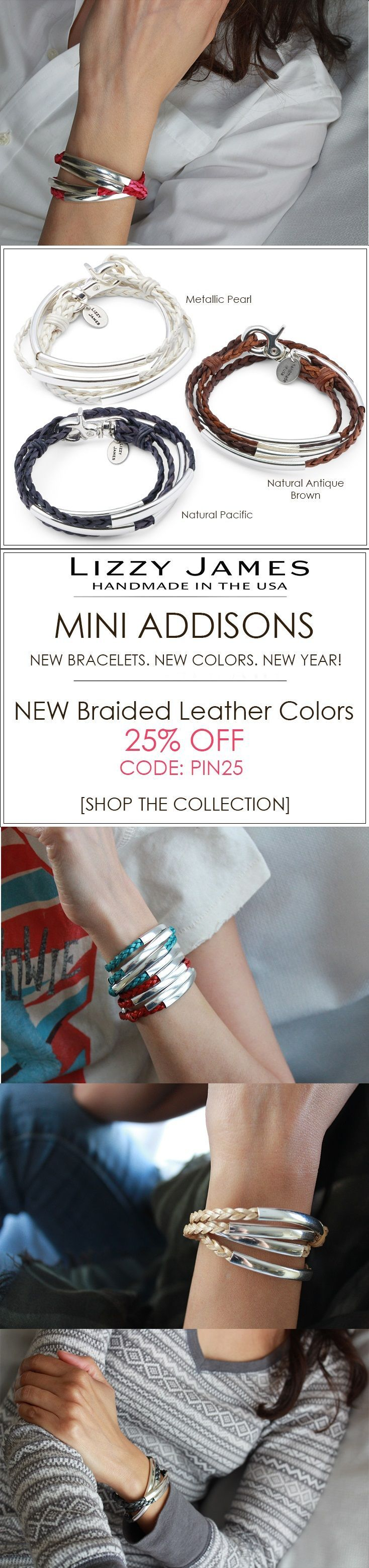 New Wraps. New Colors. New Year!          25% OFF sale + FREE Shipping for all 1st time buyers with coupon code PIN25 - let Lizzy James Jewelry help you color your style this New Year! Featuring braided leather  bracelets that can also be worn as chokers, charm bracelets & necklaces. Our designs fit all wrist sizes from petite to plus size.  Proud to be made in the USA!  #lizzyjames