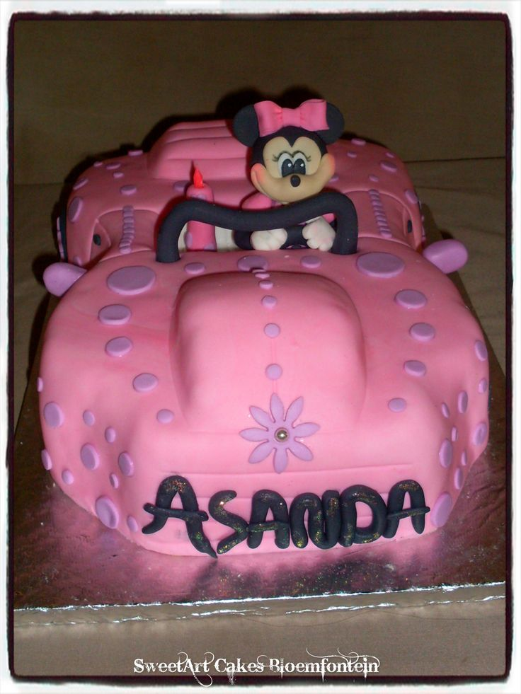 Minnie Mouse Car Cake.  For more information or orders email SweetArtBfn@gmail.com or call 0712127786.  Connect with us on Facebook at https://www.facebook.com/SweetArtCakesBloemfontein