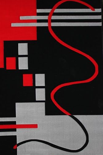 Geo 127 Black 100% Polypropylene Powerloomed Modern Area Rug
